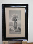 Ruth By M. Weber Antique Engraving With Frame Wooden Antique Print R97