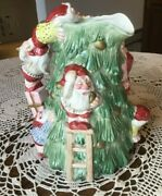 Vintage Fitz And Floyd Old World Christmas Tree Trimming Elves 2 Qt Pitcher