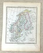 1838 Antique Map Of Norway Sweden Baltic Sea Old Rare Hand Coloured Engraving