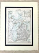 1878 Antique Map Of Michigan State United States Of America Usa American Us