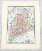 1901 Antique Map Of Maine State United States Of America Usa Americana Us