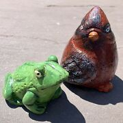 Frog And Bird Cardinal Set Pair Of Painted Concrete Small Realistic Garden Statues