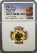 2020 W 10 Gold Mayflower Reverse Proof Coin Ngc Pf 70