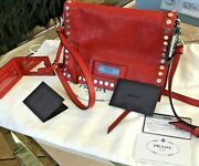 Nwt Prada Small Glace Etiquette Studded Leather Shoulder Bag Red Color