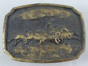 Vintage Cowboy Cattle Drive Horse Ranch Brass Buckle Collectible Western