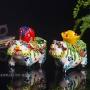 Pair Chinese Wucai Porcelain Fengshui Wealth Rich Pigs Pig Yuanbao Money Statue