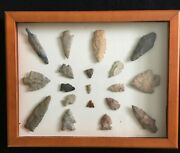 Lot 19 Authentic Arrowheads Spearheads Mounted Framed Relic Artifact Collection