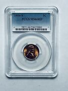 1954-s Lincoln Wheat Reverse Cent Pcgs Ms66rd