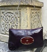 Mulberry Charlie Aubergine/purple Patent Small Bag Silver Hardware