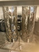 Modern Set Of 2 Silver Mercury Glass Globe Cylinder Table Bedroom Lamps 16 In