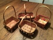 Vtg Primitive Country Lot 40and039s 50and039s Straw Rattan Easter Basket
