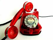 Antique Telephone Automatic Electric Ae40 Monophone Red Clear Working Beauty