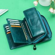 Women Wallets Genuine Leather Polyester Solid Photo Holder Zipper Pouch Bags