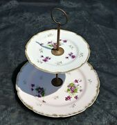 Vintage Lefton China 2-tiered Hors D'oeuvres Serving Tray Hand Painted Flowers