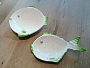Italian Pottery Concaved Fish Bowls Handpainted Set Of 2 Large And Small Dishes