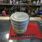 Vintage Pure Aluminum Coal Miners Lunch Bucket Pail Authentic Used Usa