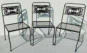 Set 3 Antique/vtg Salterini Wrought Iron Indoor/outdoor Patio Dining Side Chairs