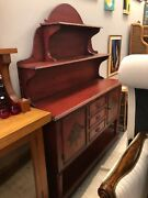 Red Faux Finish Dutch Sideboard And Hutch