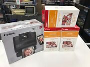 A17 Canon Selphy Cp1200 Black Wireless Color Photo Printer W/photo Paper And Ink