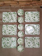 Lot Of 6 Vintage Thin Plastic Cafeteria Lunch Trays W/ Bowls Green Flowered Set