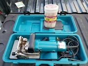 Makita 3901 Biscuit Plate Joiner Cutter Rail Circular Saw In Case W/biscuits
