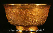 5cm Rare Old China Copper Gold Hand Carving Dynasty Palace People Bowl