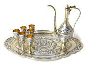 Silver Drink Set Jug And Six Vodka Cups Shot Cups On A Tray. Ussr.