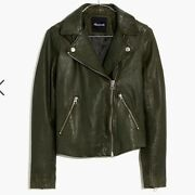 New Madewell Washed Leather Motorcycle Jacket Dark Forest Green Medium M E0488