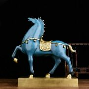 20'' Pure Bronze Mineral Pigment Home Fengshui Tang Horse Battle Steed War-horse