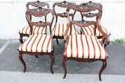 Gorgeous Antique Set Of Five 5 Regency Crotch Mahogany Dinning Room Chairs