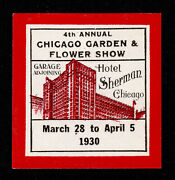 Poster Stamp 4th Annual Garden And Flower Show Hotel Sherman Chicago 1930 Mnh-og