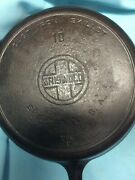 Griswold Cast Iron Size 10 Skillet- Large Block -heat Ring 716 C