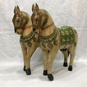 Antique India Hand Carved And Painted Wedding Horses Baraat Ghodi Ghoda Pair Rare