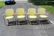 1950s Set Aluminum Lawn Chairs W/ Wood Arms X4 Telescope Folding Furniture Co.