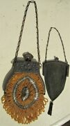 2 Antique Victorian Purses Whiting And Davis Chain Mail Purse And Hand Beaded Purse