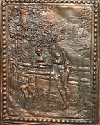 Vintage Hand Made Wall Decor Copper On Wood Plaque Hunting Scene