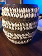 Antique African Hausa Tribe Woven Coil Dowry Basket Cowrie Shells Kwundo Tou