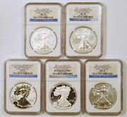 2011 Silver Eagle 25th Anniversary Set 5 Eagles Graded Early Releases By Ngc