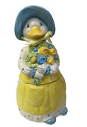 Department 56 Ceramic Pottery Mother Goose Duck Cookie Jar Canister Lid 12