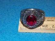 Vintage - U.s. Marines Military Red Stone Ring Size 14.5 - Nos - Alpha Brand