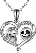 Sterling Silver Jack Skellington Sally Heart Necklace Nightmare Before Christmas