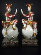 Clown Jester 9 1/2 Book Ends Hand Painted Milson And Louis 1 Base Paint Peeling