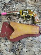 Vintage Toy Tin Litho Clicker Pistole And Holster