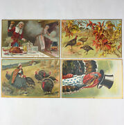 Antique 1909 Raphael Tuck And Sons 4 Postcard Set Thanksgiving Day Series 161 162