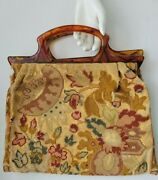 Antique Hand Bag Embroidered Jacobean Needlepoint Vtg Faux Tortoise Shell Handle
