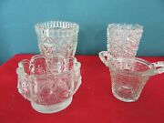 Lot Of 4 Vintage Old Pressed Glass Toothpick Holders Or Small Vases
