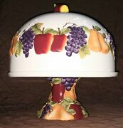 Sonoma Villa Fruit Pedestal Cake Plate Stand W/domed Cover Lid Home Interiors