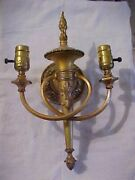 Marked Bradley And Hubbard Heavy Brass 2 Tone Finish Double Wall Sconce Rewired