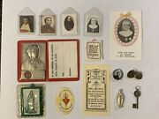 Lot Of Vintage Catholic Religious 3rd Class Nuns Relics, Medals Cards D'youville