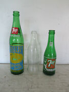 Vintage Lot Of 3 Glass Collectible Soda Bottles Notre Dame 7-up, Coca-cola, 7-up